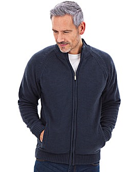 Fleece Lined Zipper Cardigan