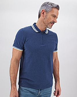 Short Sleeve Zip Neck Polo Shirt