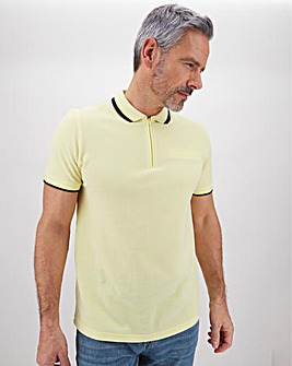 Short Sleeve Zip Neck Polo Shirt