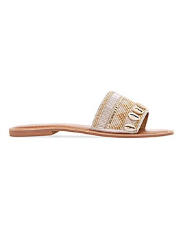 Rico Beaded Seashell Mule Flat Sandals Wide E Fit