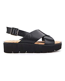 Jersey Leather Cross Flatform Wide Fit