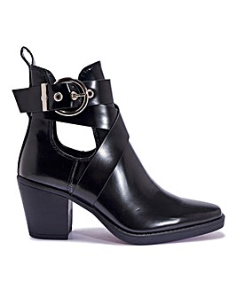 Block Heel Buckle Ankle Boots Wide Fit