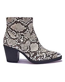 Block Heel Ankle Boot Wide Fit
