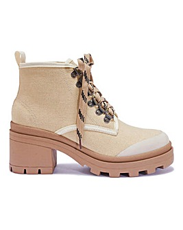 Block Heel Lace Up Boot Standard Fit