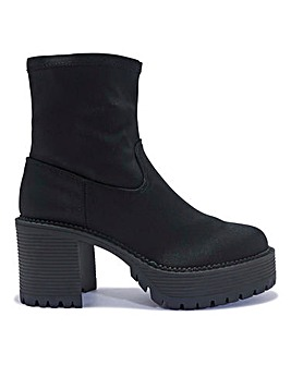 Block Heel Sock Boot Standard Fit