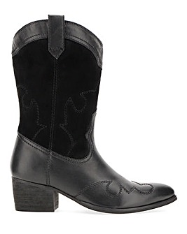 Azalea Leather Western Boots Wide Fit