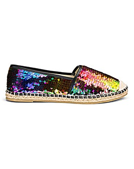 Polly Two Way Sequin Espadrille Wide E Fit