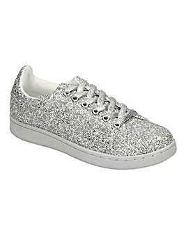 Lace Up Glitter Trainer Wide Fit