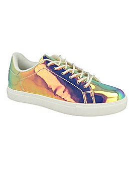 Holographic Lace Up Trainer Standard Fit