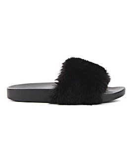 Faux Fur Slider Slipper Extra Wide Fit