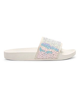 Maggie Sequin Pool Slider Extra Wide