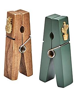 Wooden Peg Photo Holder Set 2