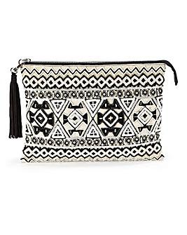 Monochrome Embellished Clutch Bag