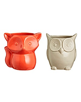 Owl and Fox Set of 2 Planters