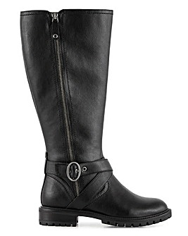 Pine High Leg Biker Boots Wide Fit Curvy Calf