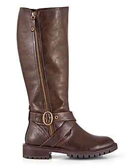 Pine High Leg Biker Boots Wide Fit Super Curvy Calf