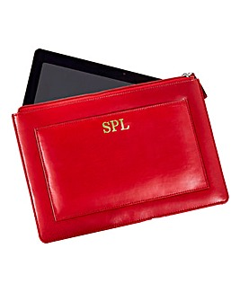 Personalised Red Leather Tablet Case