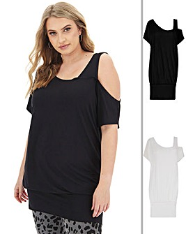 Black & White Mock 2 in 1 Band Hem Tunic
