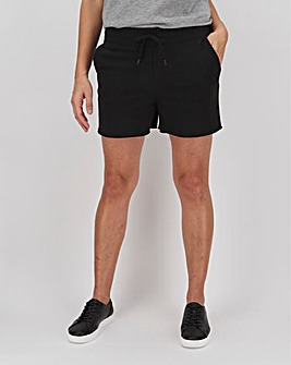 Black Cotton Jog Shorts