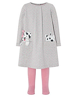 Monsoon Baby Dotty Sweat Dress And Tight
