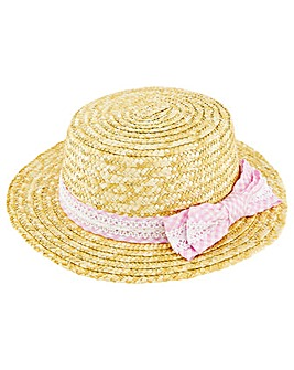 Monsoon Gingham Boater Lace Hat