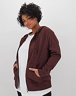 Chocolate Cotton Zip Through Hoodie