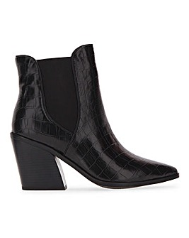 Avens Croc Heeled Ankle Boots Extra Wide Fit