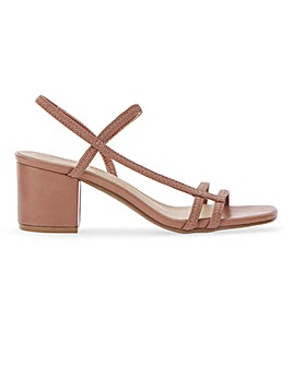 Nora Asymmetric Strap Heeled Sandals Wide Fit