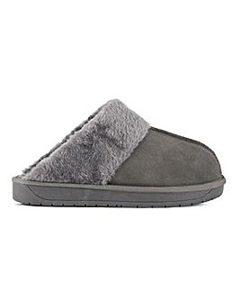 Aubree Suede Mule Slippers Wide Fit
