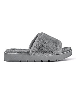 Athena Fluffy Mule Slippers Extra Wide Fit