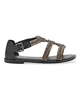 Jaylee Bejewelled Flat Gladiator Sandals Wide Fit