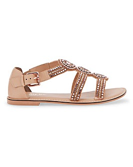 Jaylee Bejewelled Flat Gladiator Sandals Extra Wide Fit