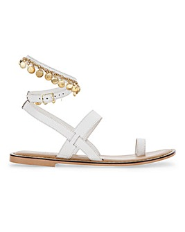 Rayne Coin Trim Flat Sandals Wide Fit