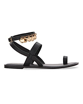 Rayne Coin Trim Flat Sandals Extra Wide Fit