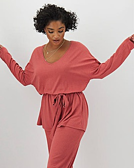 Pink Super Soft Ribbed Tie Waist Tunic
