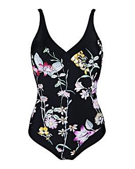 Pour Moi Black Floral Control Swimsuit