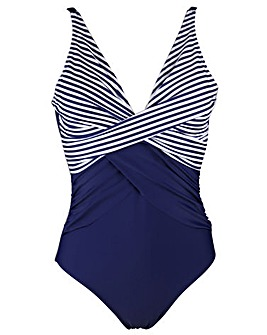 Pour Moi Stripe Cross Front Swimsuit