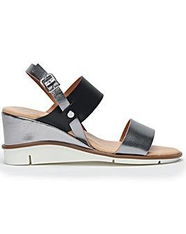 DF By Daniel Slant Leather Wedge Sandals