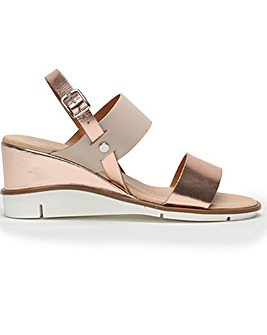 DF By Daniel Slant Leather Wedge Sandals