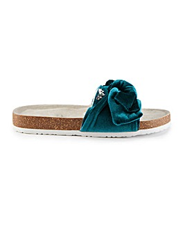 Pretty You London Velour Bow Sandals