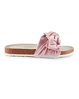 Pretty You London Velour Bow Sandals for Women