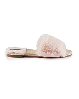 Pretty You London Faux Fur Sandals for Women