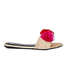 Pretty You London Raffia Pom Sandals