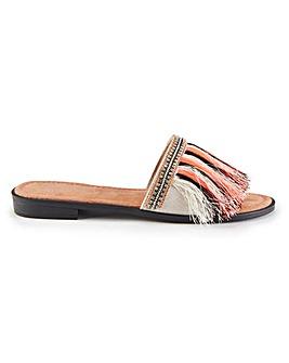 Pretty You London Fringe Slider Sandals
