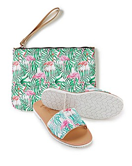 Pretty You London Sandal Slider & Clutch Set for Women