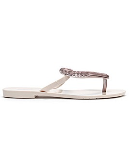 Melissa Big Heart Chrome Flip Flops
