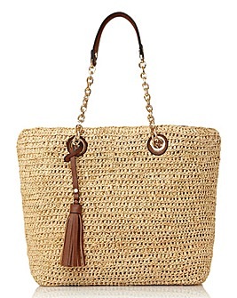 Dune Delliah Large Raffia Slouch Bag