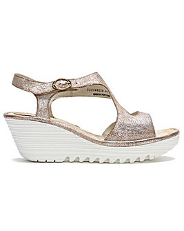 Fly London Yanca Leather Wedge Sandals