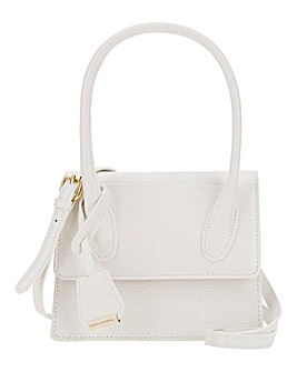 Glamorous Top Handle White Croc Tote Bag
