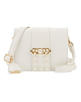 Glamorous Pearl Detail Croc Shoulder Bag